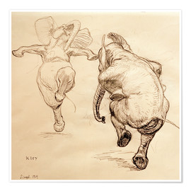 Premium poster  Two dancing elephant - Heinrich Kley