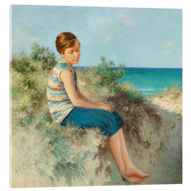 Acrylic glass  Girl in the dunes by the North Sea beach on Sylt - Hermann Seeger