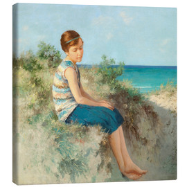 Canvas print  Girl in the dunes by the North Sea beach on Sylt - Hermann Seeger