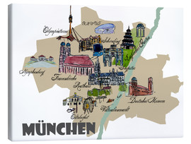 Canvas print  Munich Map Overview Best Of Highlights - M. Bleichner