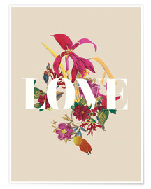 Premium poster Exotic Love flowers botanical art
