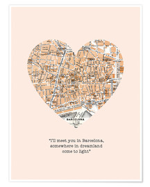 Premium poster  I'll meet you in Barcelona - Romance Typo - Nory Glory Prints