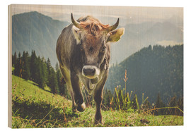 Wood print  Cow in the mountains - Michael Helmer