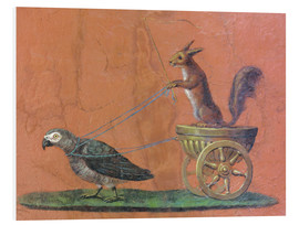Foam board print  Parrot draws cars with squirrels