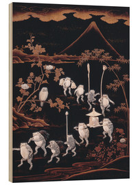 Wood print  Procession of frogs