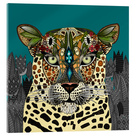 Acrylic print  Leopard Queen teal - Sharon Turner