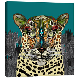 Canvas print  Leopard Queen teal - Sharon Turner