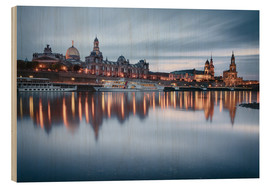 Wood print  Dresden old town at the blue hour - Philipp Dase