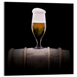 Acrylic print  Frosty glass of light beer