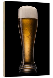 Wood print  Beer into glass