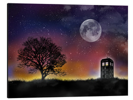 Aluminium print  The Tardis at night, Doctor Who - Golden Planet Prints