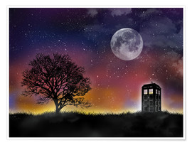 Poster  The Tardis at night, Doctor Who - Golden Planet Prints