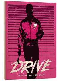 Wood print  Drive Ryan Gosling movie inspired art print - Golden Planet Prints