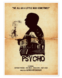 Poster Psycho movie inspired hitchcock silhouette art print