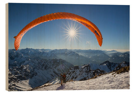 Wood print  paragliding start - Thomas Klinder