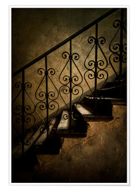 Premium poster  Old staircase with ornamented handrail - Jaroslaw Blaminsky