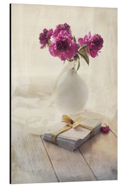 Aluminium print  Still life with pink peonies and love letters - Jaroslaw Blaminsky