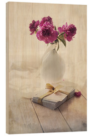 Wood print  Still life with pink peonies and love letters - Jaroslaw Blaminsky