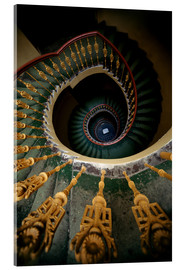 Acrylic print  Ornamented spiral staircase in green and yellow - Jaroslaw Blaminsky