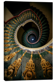 Canvas  Ornamented spiral staircase in green and yellow - Jaroslaw Blaminsky
