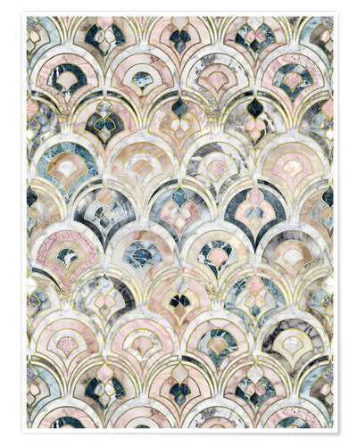 Premium poster Art Deco Marble Tiles in Soft Pastels