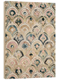 Wood print  Art Deco Marble Tiles in Soft Pastels - Micklyn Le Feuvre