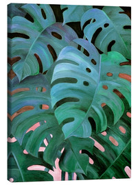 Canvas  Monstera Love in Teal and Emerald Green - Micklyn Le Feuvre