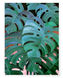 Poster  Monstera Love in Teal and Emerald Green - Micklyn Le Feuvre