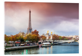 Acrylic print  Eiffel tower and river Seine at sunset, in autumn, Paris, France - Matteo Colombo