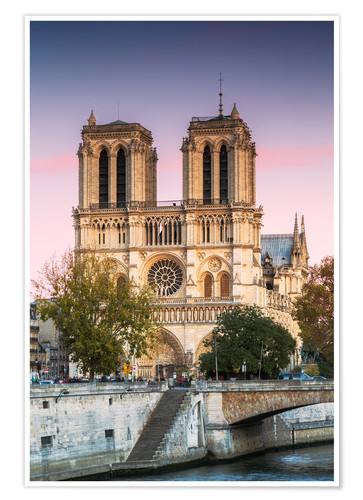 Premium Poster Notre Dame Cathedral At Sunset Paris France