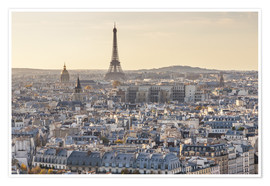 Premium poster Eiffel tower and city of Paris at sunset, France