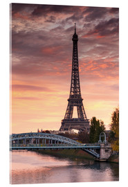 Acrylic print  River Seine and Eiffel tower at sunrise, Paris, France - Matteo Colombo
