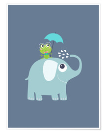 Premium poster One frog and one elephant