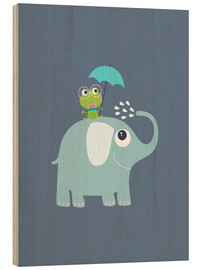 Wood print  One frog and one elephant - Jaysanstudio