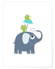Premium poster  Frogs and elephant - Jaysanstudio