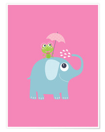 Premium poster  One frog and one elephant pink - Jaysanstudio