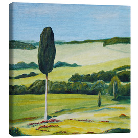 Canvas print  Lonely Cypress Tree on Terrapille Close to Pienza Tuscany - Christine Huwer