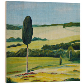Wood print  Lonely Cypress Tree on Terrapille Close to Pienza Tuscany - Christine Huwer
