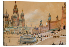 Canvas  Moscow (Kremlin and St. Basil's Cathedral) - Albert Edelfelt