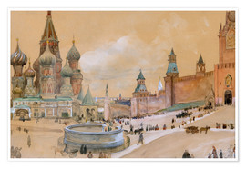 Premium poster  Moscow (Kremlin and St. Basil's Cathedral) - Albert Edelfelt