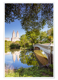 Premium poster  Famous bow bridge in Central Park, New York city, USA - Matteo Colombo