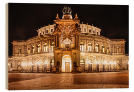 Wood print  Saxon State Opera House in Dresden at night (Germany) - Christian Müringer