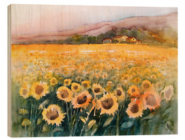 Wood print  Sunflower field in the Luberon, Provence - Eckard Funck