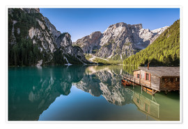 Premium poster Braies Lake, Dolomites, South Tyrol