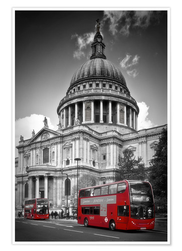 Premium poster LONDON St. Paul's Cathedral and Red Bus