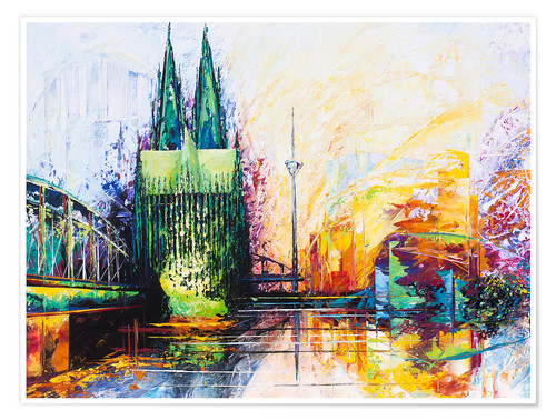 Premium poster Cologne Cathedral Skyline colored