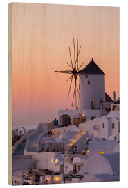 Wood print  Santorini sunset - Thomas Klinder