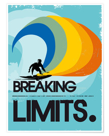 Poster  Retro Surfer Design breaking limits art print - 2ToastDesign