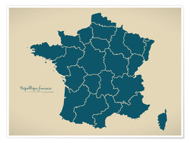 Premium poster France Modern Map Artwork Design petrol