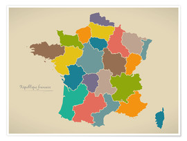 Premium poster France Modern Map Artwork Design